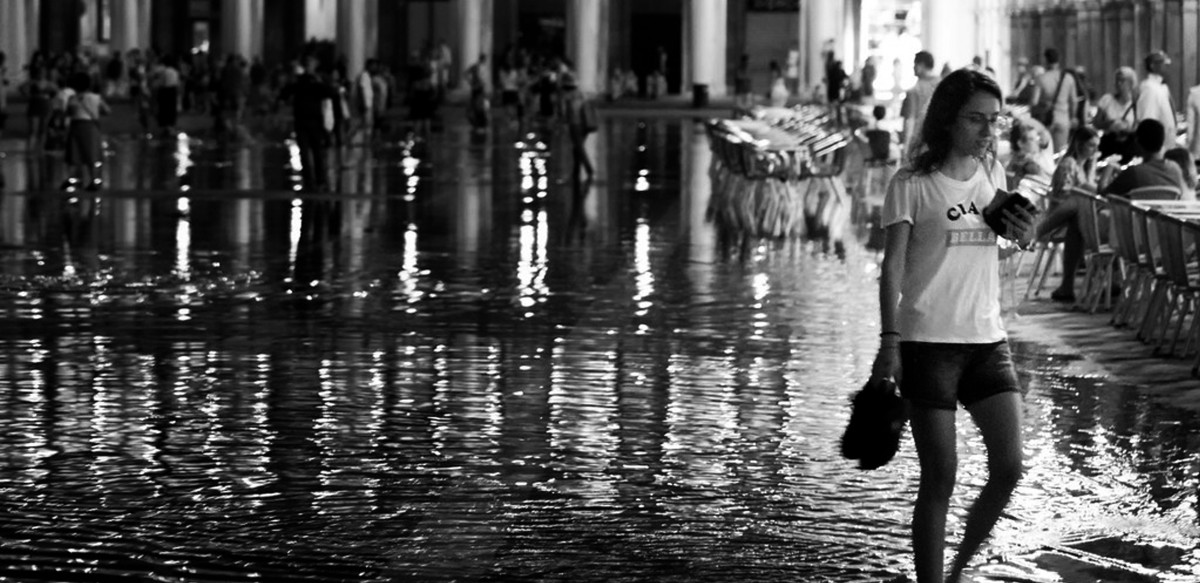 Wading and walking through the floods